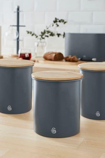 Set of 3 Nordic Grey Storage Jars by Swan