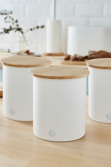 Set of 3 Nordic White Storage Jars by Swan