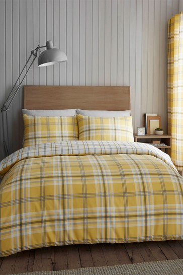 Catherine Lansfield Yellow Kelso Check Easy Care Duvet Cover and Pillowcase Set