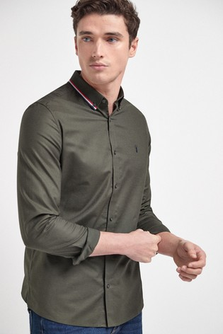 Khaki Green Slim Fit Stretch Oxford Tipped Collar Long Sleeve Shirt