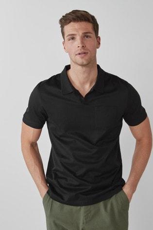 Black Premium Cotton Revere Polo