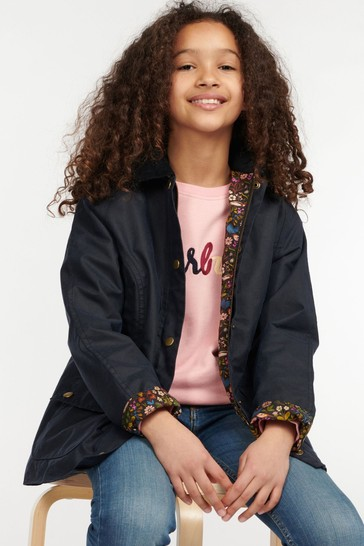 Barbour® Girls Beadnell Hooded Wax Jacket
