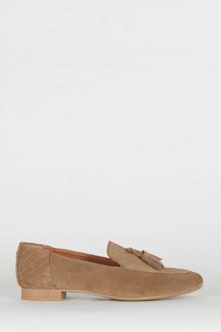 Barbour Taupe Suede Leather Peyton Loafers