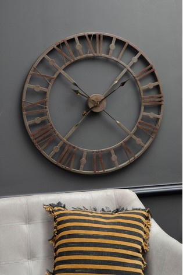 Libra Antique Grey Skeleton Wall Clock