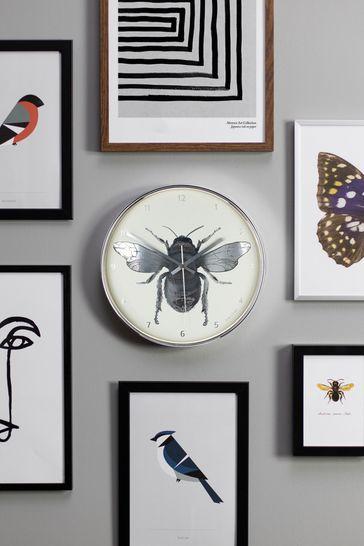 Jones Clocks Academy Silver Bee Wall Clock