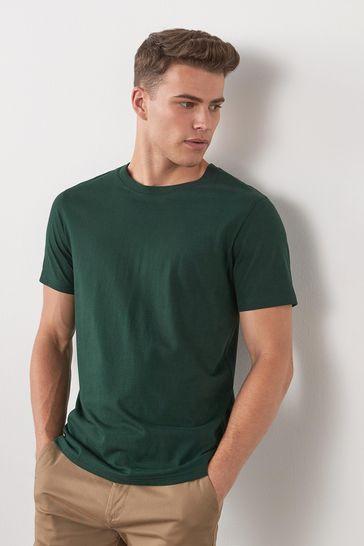 Bottle Green Regular Fit Crew Neck T-Shirt