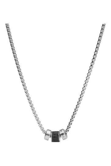 Fossil Silver Tone/Black Lava Necklace