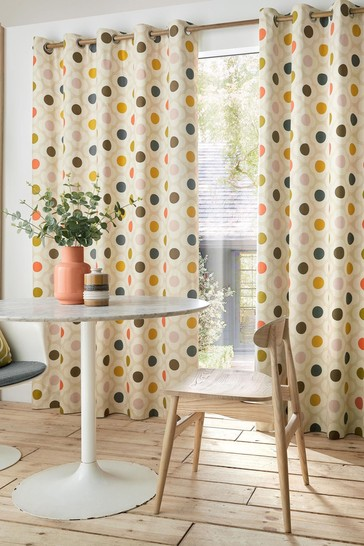 Orla Kiely Multi Spot Flower Blackout Eyelet Curtains