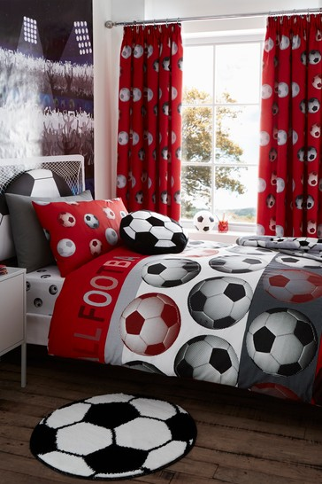 Catherine Lansfield Red Football Easy Care Duvet Cover and Pillowcase Set