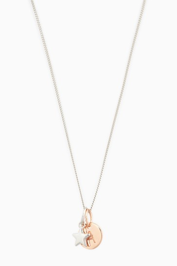 Sterling Silver Rose Gold Plated Star Initial Necklace