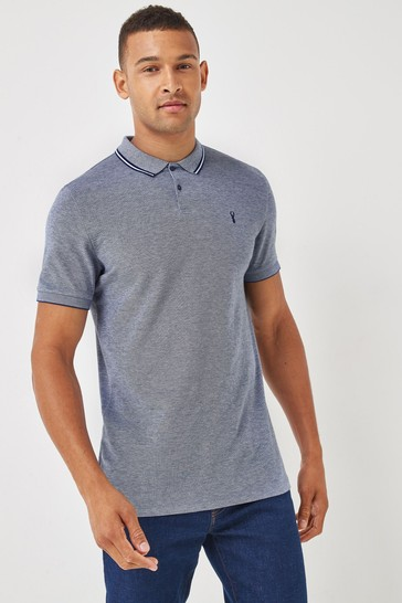 Blue Oxford Tipped Regular Fit Polo Shirt