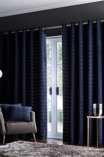 Studio G Dark Blue Lucca Eyelet Curtains