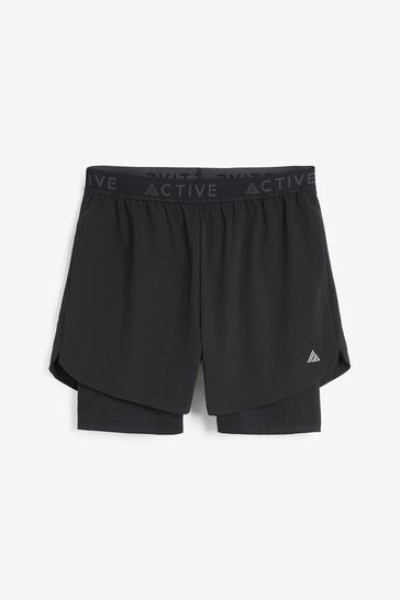 Black 2-In-1 With Legging Next Active Gym & Running Shorts