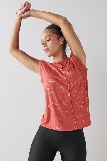 Red Metallic Animal Short Sleeve Sports Top