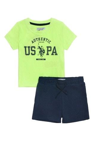 U.S. Polo Assn. Green Rider T-Shirt And Shorts Set