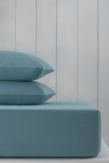 Slate Blue Cotton Rich Deep Fitted Sheet