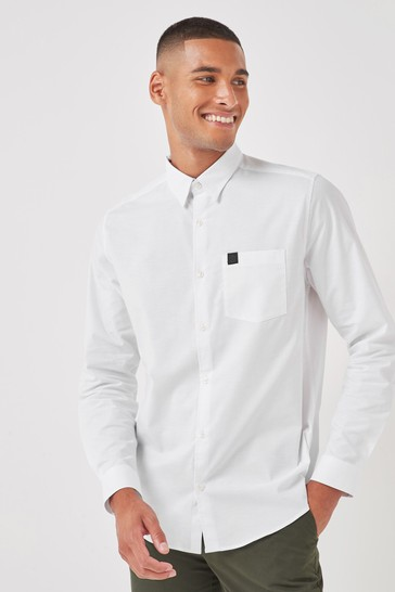 White Pocket Slim Fit Long Sleeve Stretch Oxford Shirt