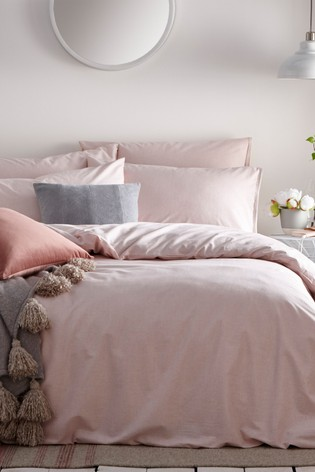 The Linen Yard Pink Claybourne Duvet Cover And Pillowcase Set