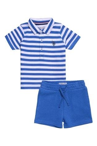 U.S. Polo Assn. Blue Breton Stripe Polo And Shorts Set