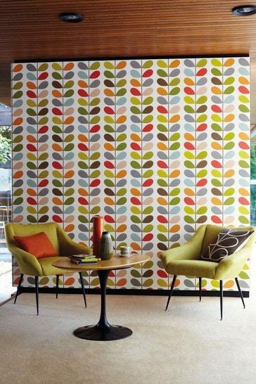 Orla Kiely Red Multi Stem Wallpaper
