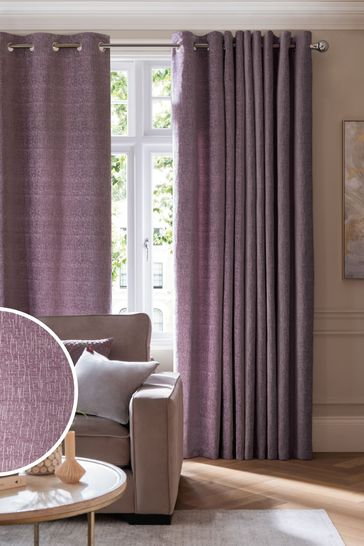 Mauve Purple Heavyweight Chenille Eyelet Lined Curtains