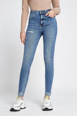 River Island Denim Medium Skinny Ripped Turn Up Mars Jeans