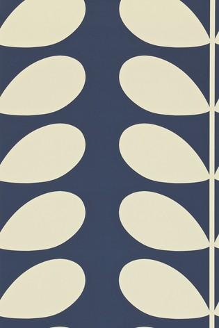 Orla Kiely Blue Giant Stem Wallpaper