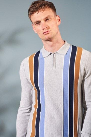 Grey Asymetric Stripe Large Check Zip Premium Polo