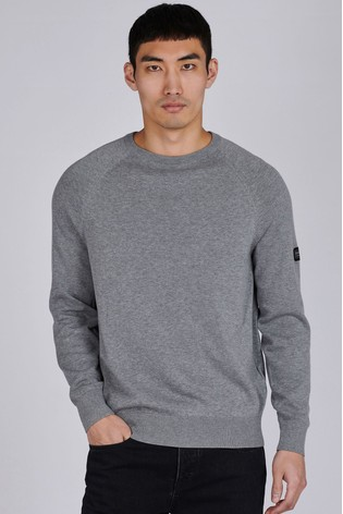 Barbour® International Grey Cotton Crew Neck Sweater