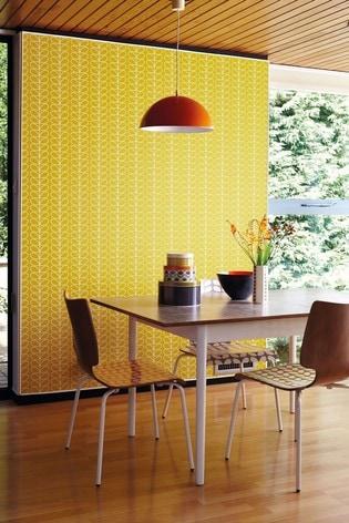 Orla Kiely Yellow Linear Stem Wallpaper