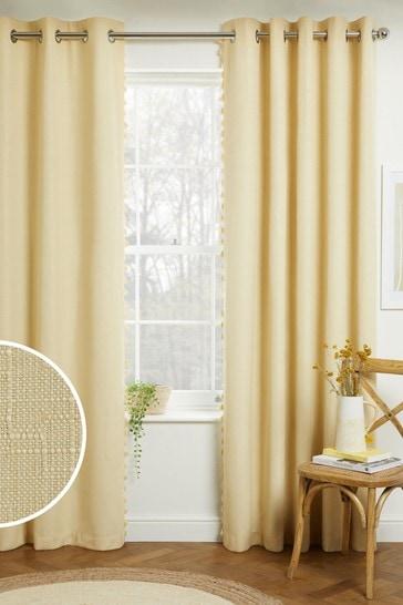 Yellow Textured Tassel Eyelet Blackout/Thermal Curtains