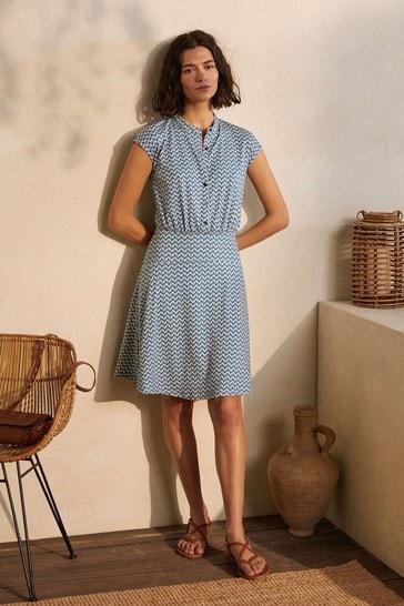 Boden Blue Easy Jersey Shirt Dress