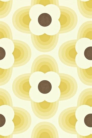 Orla Kiely Yellow Striped Petal Wallpaper