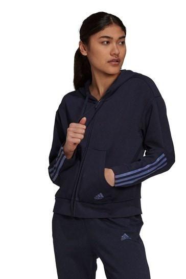 adidas Navy Double Knit Zip Through Hoodie