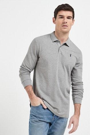 Grey Marl Long Sleeve Pique Polo Shirt