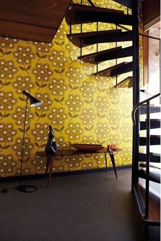 Orla Kiely Yellow Giant Rhodedendron Wallpaper