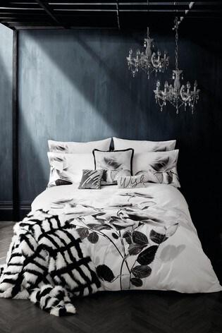 Rita Ora White Elira Monochrome Floral Duvet Cover