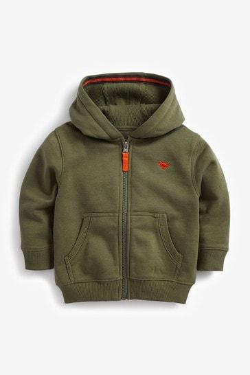 Khaki Green Essential Zip Through Hoodie (3mths-7yrs)