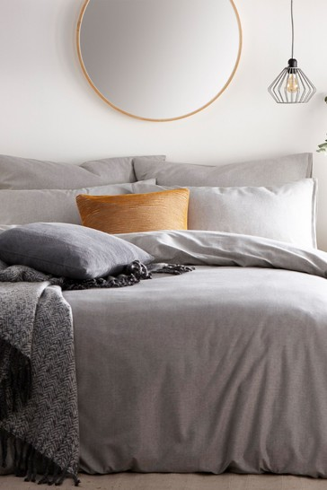 The Linen Yard Grey Claybourne Duvet Cover And Pillowcase Set