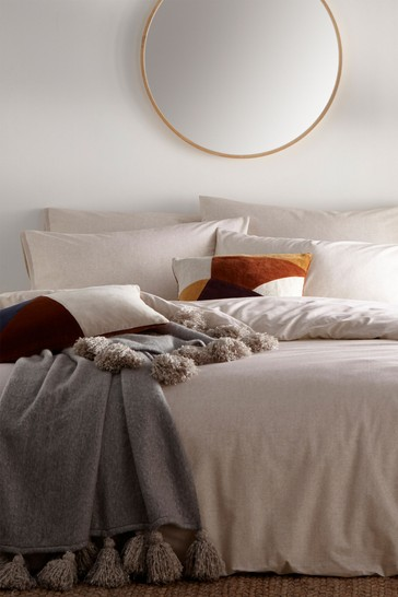 The Linen Yard Orange Claybourne Putty Duvet Cover And Pillowcase Set
