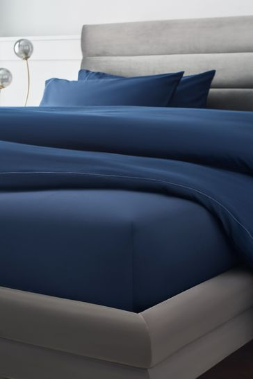Navy 300 Thread Count Collection Luxe Deep Fitted 100% Cotton Fitted Sheet