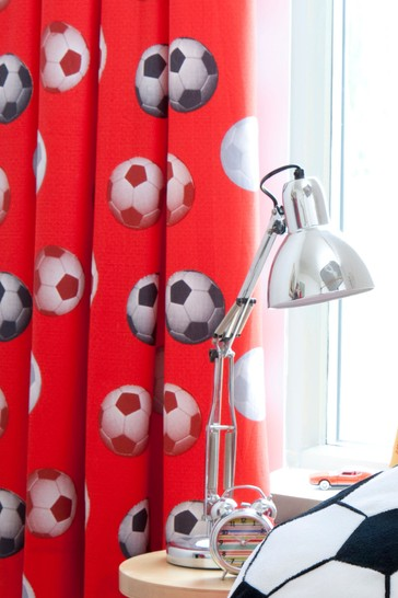 Catherine Lansfield Red Football Lined Eyelet Curtains