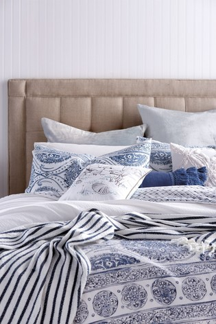 Peri Home Blue Matelass Medallion Pillowcase