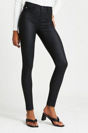 River Island Black Coated Joyride Molly Jeans