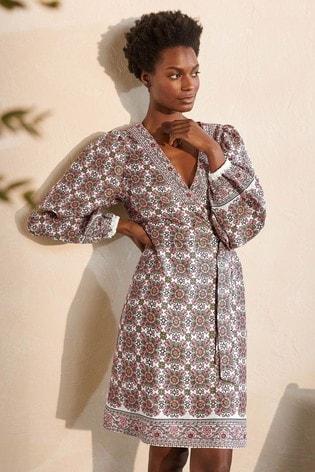 Boden Blue Bridget Belted Linen Dress