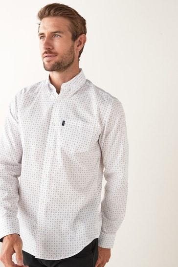 White/Navy Print Regular Fit Single Cuff Easy Iron Button Down Oxford Shirt