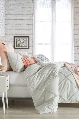 Peri Home Grey Chenille Trimmed Lattice Duvet Cover