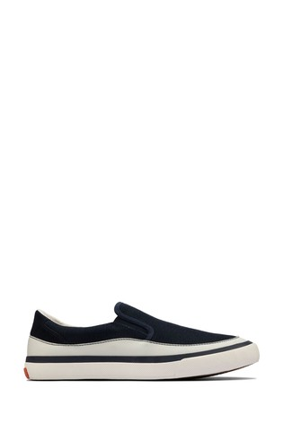 Clarks Navy Canvas Aceley Step Trainers