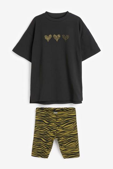 Black Animal T-Shirt And Shorts Set (3-16yrs)
