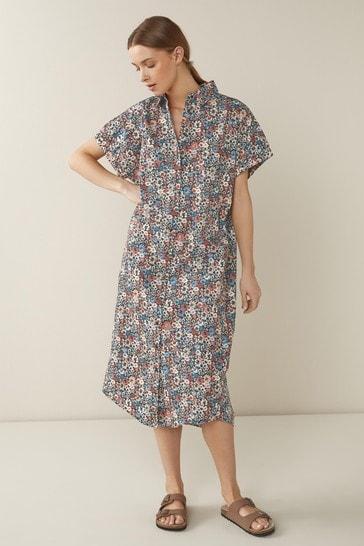 Multi Short Sleeve Relaxed Shirt Dress